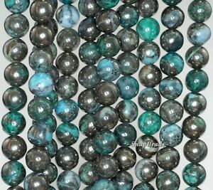 6MM GREEN  PYRITE INCLUSIONS QUARTZ GEMSTONE GRADE AA ROUND LOOSE BEADS 15.5""