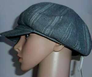 Grey-Baker-Boy-Check-Hat-One-Size-Peaked-Newsboy-Cap-15-Wool-New