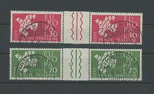 ITALY-EUROPA-CEPT-1961-GUTTER-PAIRS-RARE-CAT-VALUE-ONLY-h2149
