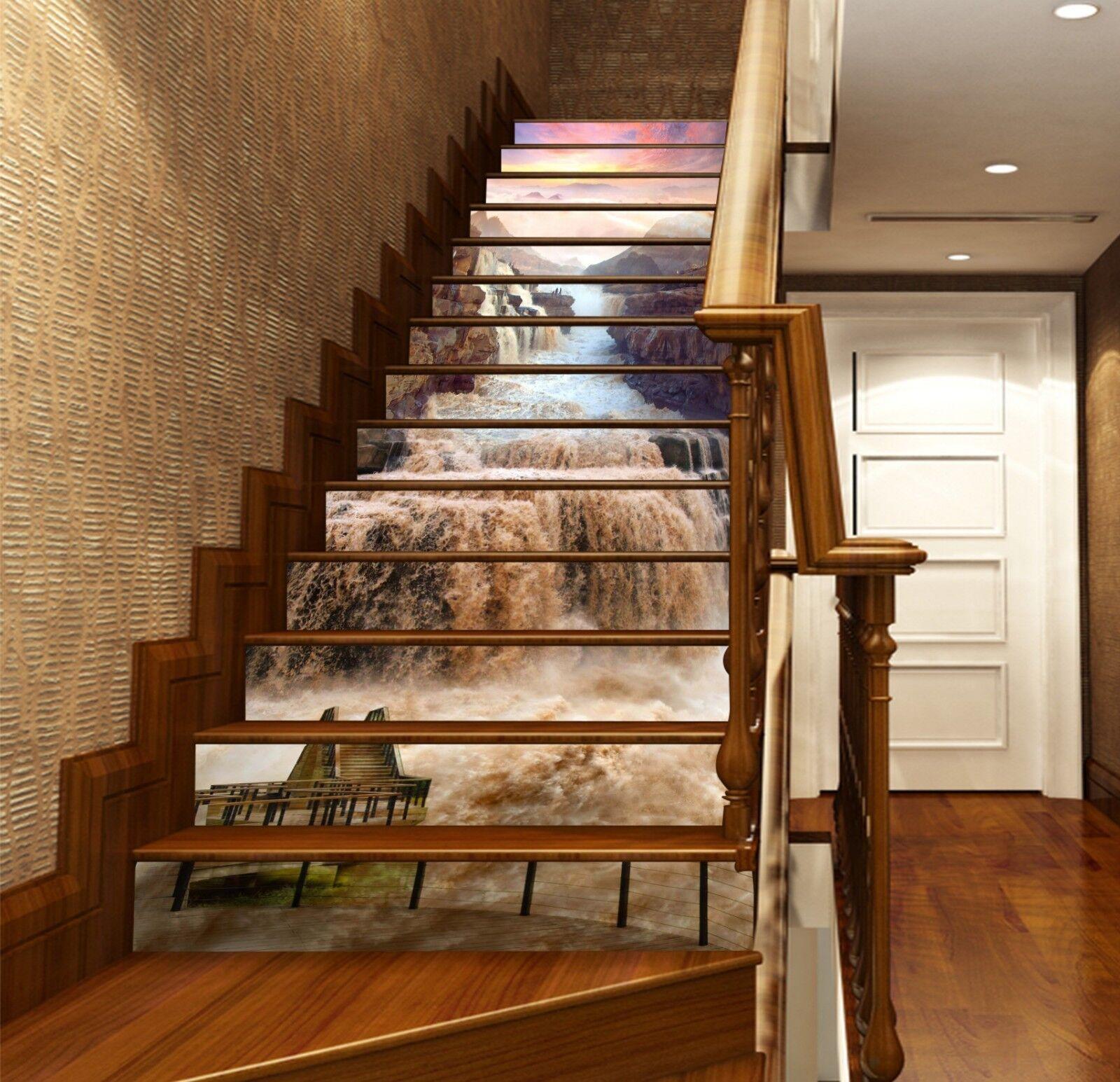 3D Mountains Adorn Stair Risers Decoration Photo Mural Vinyl Decal Wallpaper UK
