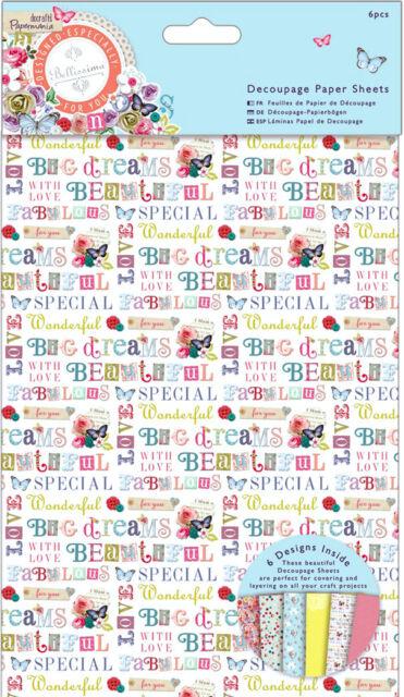 Papermania 6 pk of A3 decoupage paper Bellissima butterflies flowers sentiments