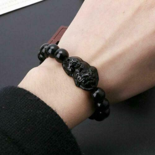 Feng Shui Reichtum Attraktivität Schwarz Glas 10MM Armband Pi Xiu Viel Glück