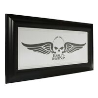 Harley-davidson Winged Skull Mirror Polystyrene Frame Home Bar Decor