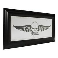 Harley-davidson Winged Skull Mirror Polystyrene Frame Home Bar Decor