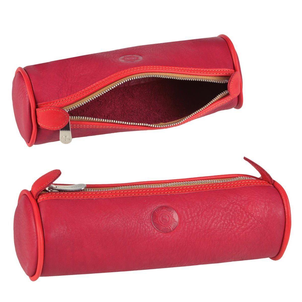 Sonnenleder Stifteetui Federtasche Schlamper Leder Schuletui Lotta rot | Spezielle Funktion  | Stilvoll und lustig  | Die Farbe ist sehr auffällig