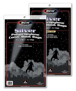 200-BCW-SILVER-AGE-Clear-Comic-Book-Bags-Sleeves