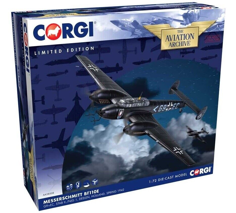 CORGI AA38508 1 72 MESSERSCHMITT 110E NIGHT FIGHTER G9+EC DEELEN HOLLAND 1942