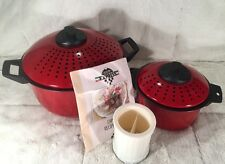 5 Piece PASTA POT EXPRESS Lidded & Vented Pans + Cheese Grater Red