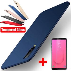 For Samsung Galaxy A9 A8 A6 A7 2018 A5 A3 Matte Slim Hard Cover + Tempered Glass