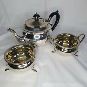 Vintage Yeoman Plate Tea Set Teapot Sugar Bowl Milk Jug Creamer Silver Plated D8