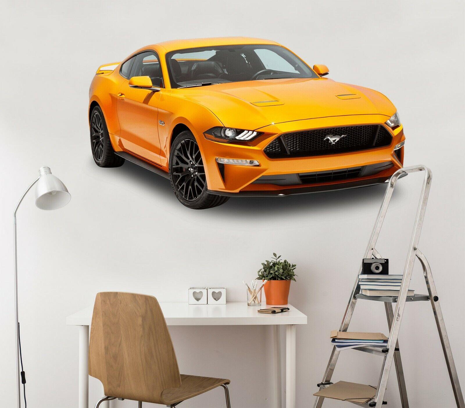 3D Ford Mustang C221 Auto Wallpaper Wandbild Poster Transport Wandaufkleber Wend