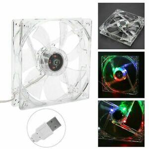12cm USB LED Cooling Fan 12VRGB Computer Case CPU Transparent Colorful Light SLS