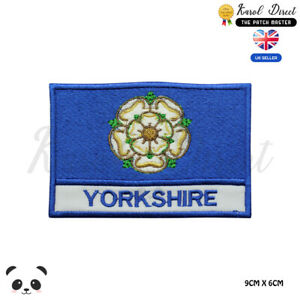 YORKSHIRE-England-County-Flag-With-Name-Embroidered-Iron-On-Sew-On-Patch-Badge