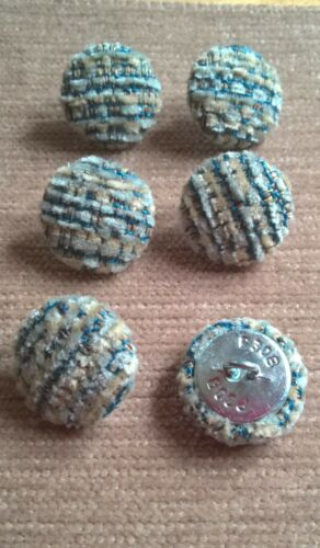 Textured Chenille 30L//19mm Marine Upholstery Fabric Covered Buttons Blue//Cream