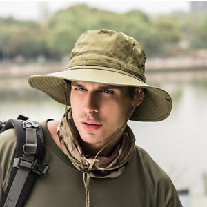 Mens-Fishing-Hunting-Bucket-Hat-Boonie-Military-Outdoor-Wide-Brim-Camo-Sun-Cap