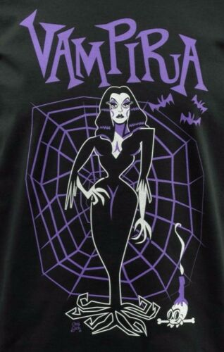 WOMENS T-SHIRT VAMPIRA GOTHIC GOTH PURPLE SPIDER WEB HORROR HALLOWEEN S 2XL