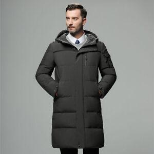 9862830d78 Men Duck Down Jacket Long Hooded Coat Puffer Parka Thicken Winter ...