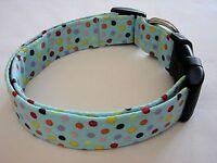 Charming Blue W/ Multi Color Polka Dots Standard Adjustable Dog Collar