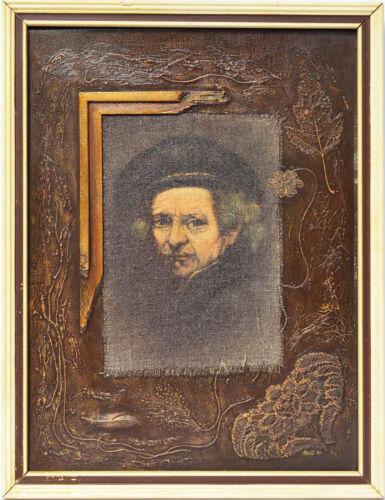 Collage Portrait Porträt Rembrandt signiert Vesely 44 x 34 cm