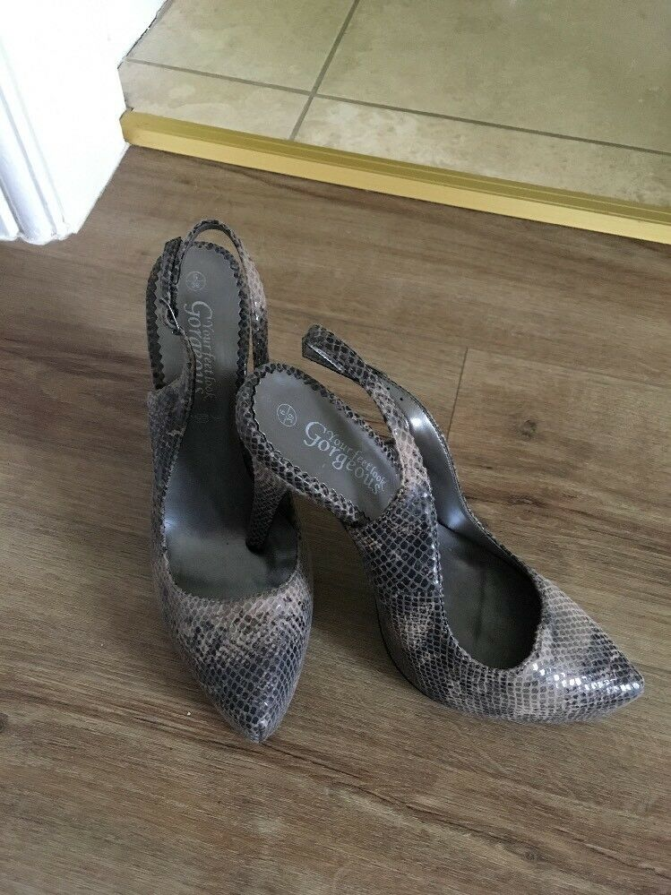 New Size 6 Snakeskin Platform Sling Back Stiletto Shoes New Look