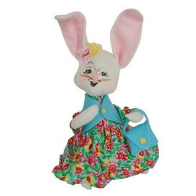"""EASTER PARADE GIRL BUNNY 6"""" Annalee Poseable Figure Holiday Decor 2014"""