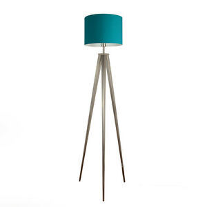 Large Brushed Chrome Tripod Floor Standard Lamp Teal Drum Shade Lampshade H