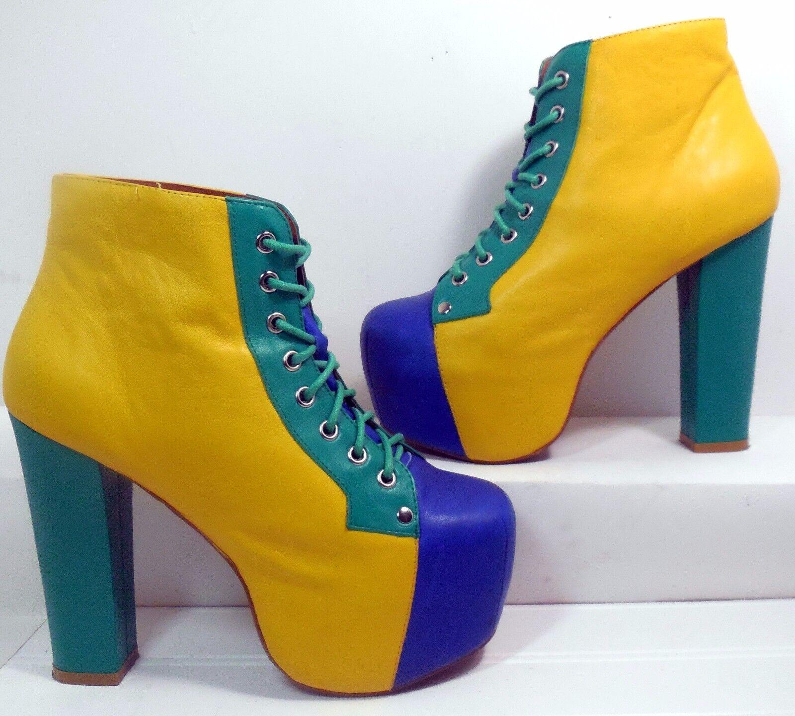 Jeffrey Campbell Lita-BK-N Color Block Pelle Platform Boot   6 Minimal Wear