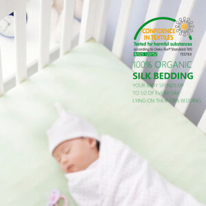 "100% Pure Silk Fitted Crib Sheet Organic Crib Bedding 28""x52""x8"" Smooth THXSILK"