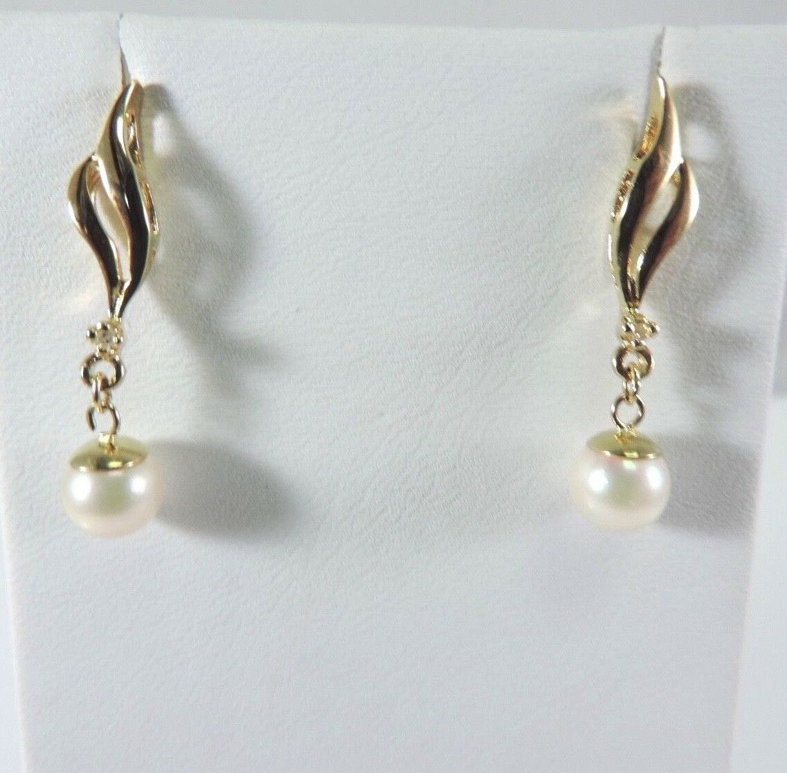 .585 14K YELLOW gold CULTURED PEARL & DIAMOND EARRINGS