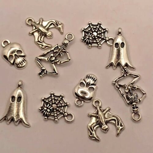10pcs Tibetan silver Halloween theme charms scary ghost skeleton bats