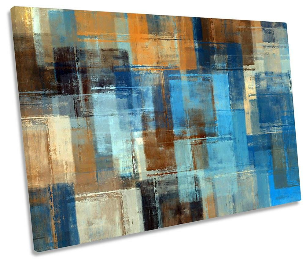 Abstract Blau Grunge Framed SINGLE CANVAS PRINT Wall Art