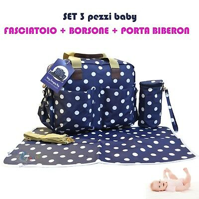 4 Pezzi Borse Per Carrozzina Faciatoio Pannolino Biberon Mamma Borsa Set Blu