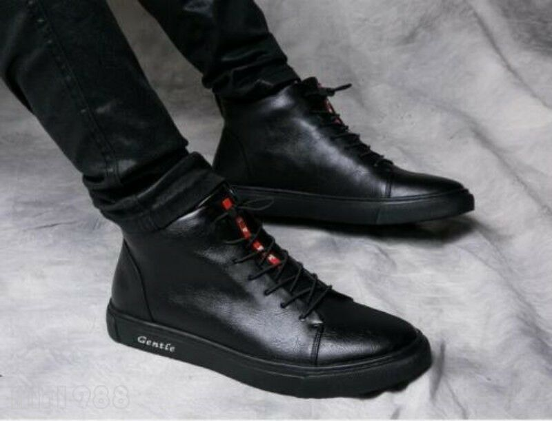 Fashion Uomo Lace Up High Top Sports Winter Casual Shoes Pelle Ankle Stivali Sz