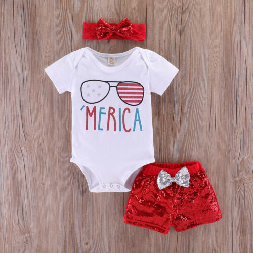 Infant Baby Girls 4th of July Stars Stripe Patriotic Romper Shorts Outfit Set L