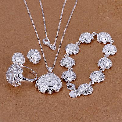 925 sterling silver filled flower necklace bracelet earrings ring Jewellery sets