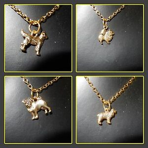 Dog-charm-necklaces-gold-plated-chain-Pomeranian-Pug-Retriever-Spaniel
