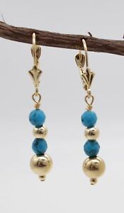 BE161-New-14K-Solid-Gold-Natural-Turquoise-Drop-Earrings