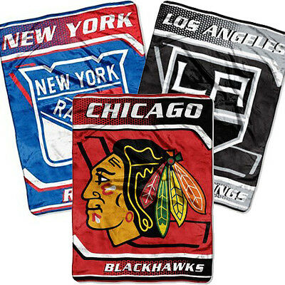 "Official NHL Royal Plush Raschel Blanket 60""X80"" - Get Cozy NHL Style"