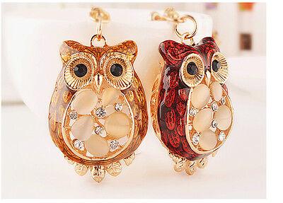 Cute Owl Car Crystal KeyChain  Bag Purse Key chain Key Ring YSK-295