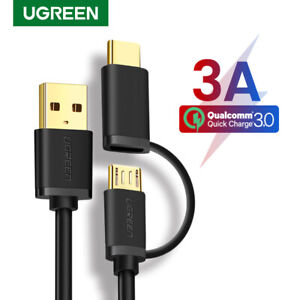 UGREEN 2 in 1 Micro USB Type C Data Charging Cable For MacBook Samsung S9 S8 HTC