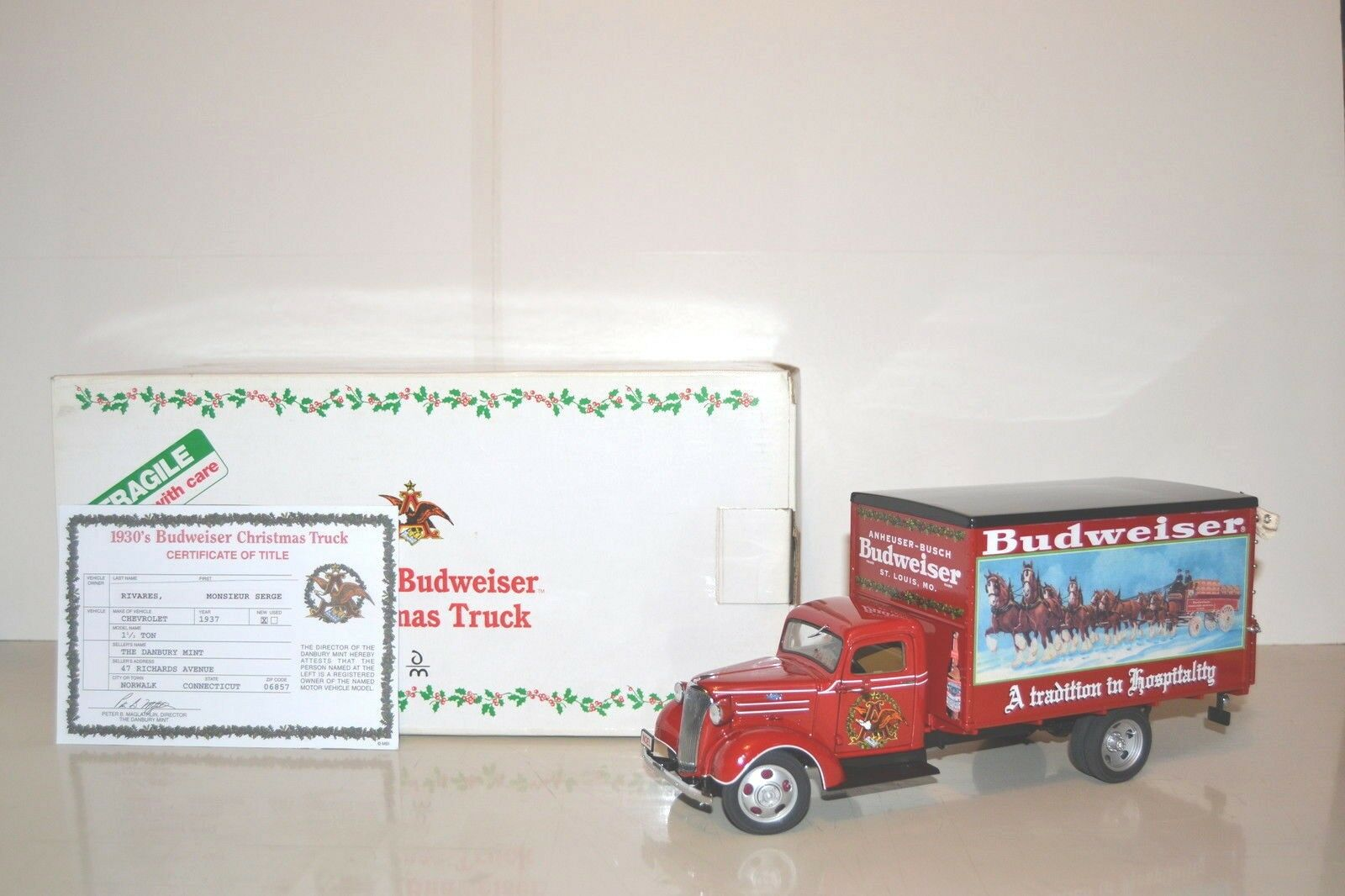 Danbury Mint 1 24 Chevrolet 1937 1.1 1.1 1.1 2Ton fourgon tôlé  Budweiser .Réf. DM-116a. 540756