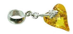 STERLING-SILVER-amp-CITRINE-CRYSTAL-WILD-HEART-DANGLE-BEAD-CHARM