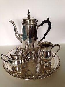 ONEIDA HEIRLOOM BENNINGTON SILVER PLATE COFFEE POT CREAM & SUGAR   eBay