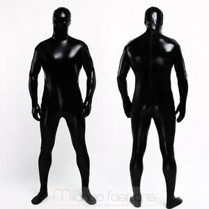 Black Skin Unisex Shiny Metallic Zentai Lycra Men Women ...