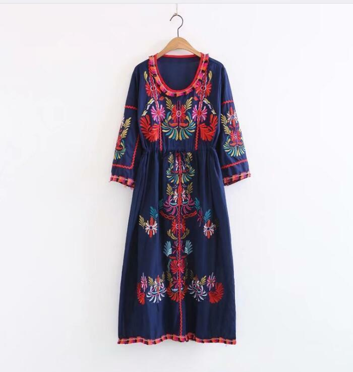 Peasant Knee Floral Embroidery Mexican Ethnic Hippie Mini Boho Above Dress 2019