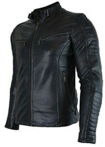 Uomo-Biker-Moto-Giacca-di-pelle-con-protezioni-trapunta-camouflage-Trapuntata-Giacca-retro