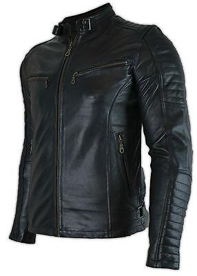 Herren Biker Motorrad Lederjacke mit Protektoren Gesteppt Jacke Retro Jacke Neu | eBay