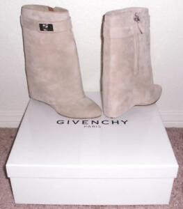 NIB Givenchy Shark Lock Suede Fold Over Wedge Mid-Calf Boots Booties ... 1a23f2997659