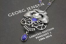 Georg Jensen Anniversary Sterling Silver Pendant No 1 w. Lapis Lazuli. 1904-2014
