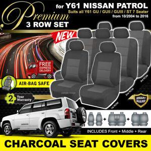 Premium Charcoal SEAT COVERS NISSAN PATROL Y61 3ROWs GU GU2 GU4 ST